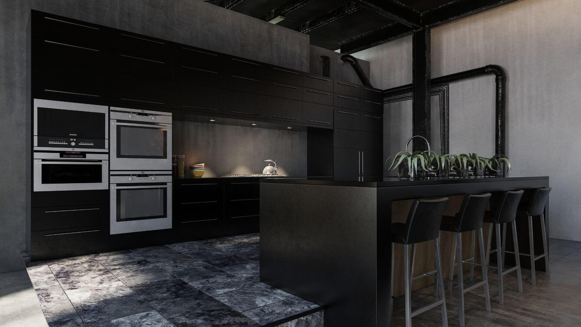decoração de cozinha com preto fosco